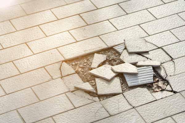 broken floor tiles repaired